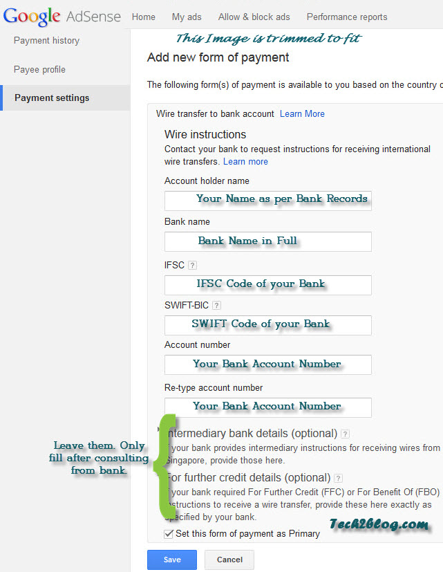 Adsense-payment-settings What Is A Clearing Code For Wire Transfer on