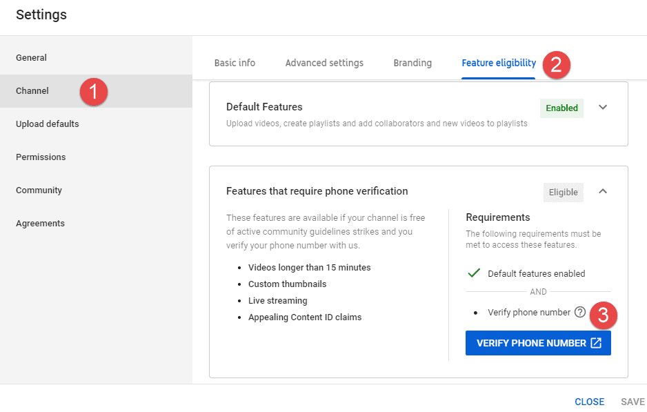 YouTube Channel Verification Settings