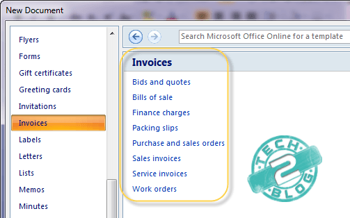 Microsoft Word Free  invoice and quote