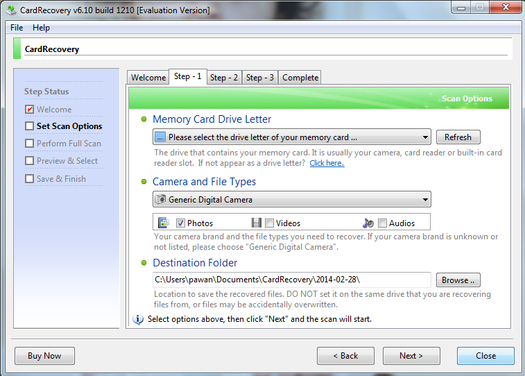 Memory card recovery step1