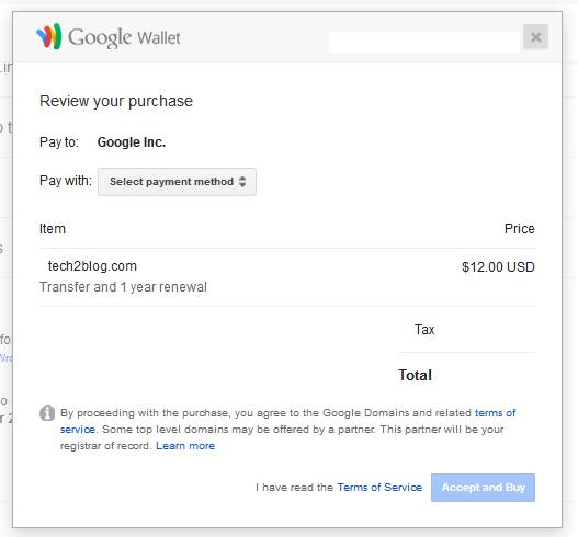 Google domain payment checkout