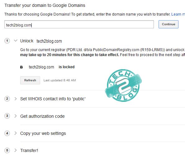Google domains transfer steps