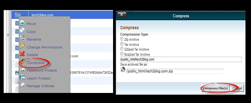 compress folder in web hosting