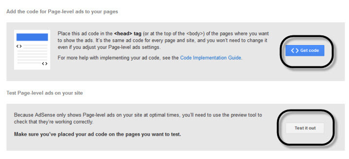 AdSense Page-level ads code and Testing