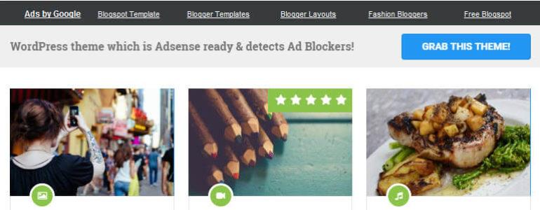 AdSense WordPress theme with Ad Blocker Detection