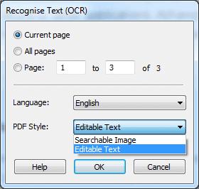 Ashampoo PDF Pro - OCR Setting