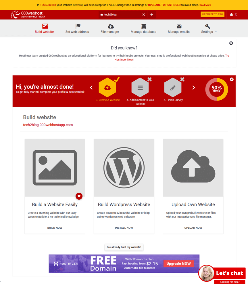 000webhost Build Website