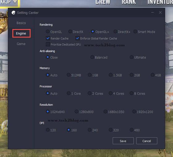 PUBG mobile Emulator Engine Setting