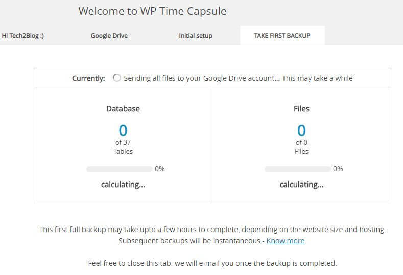 WP Time Capsule First backup