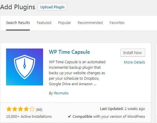 WP Time Capsule Plugin Search