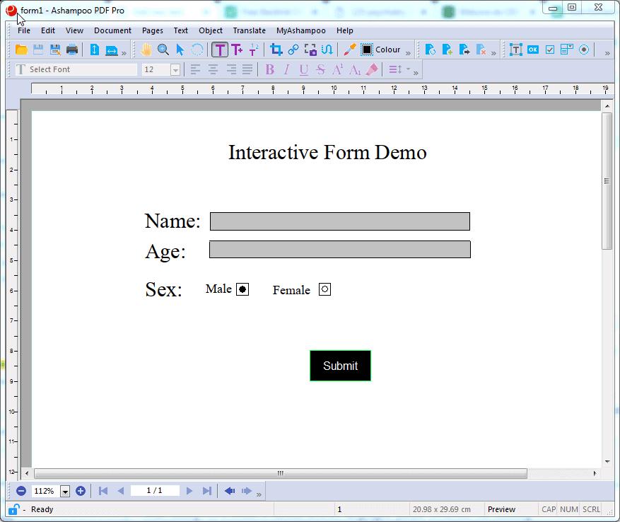 Ashampoo PDF PRO 2 Create Interactive forms