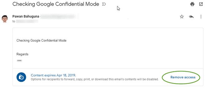 Confidential Mode - Remove Access