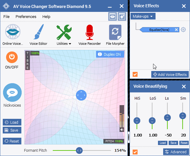 Voice Changer Software Diamond Panel