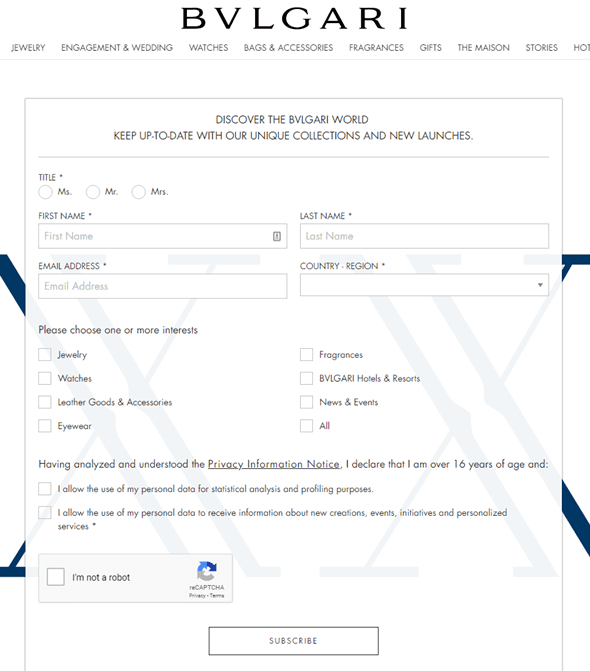 Bulgari Email marketing