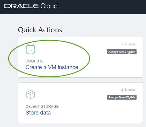 Oracle cloud - create instance