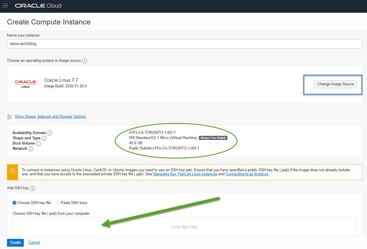 Oracle cloud - instance setting
